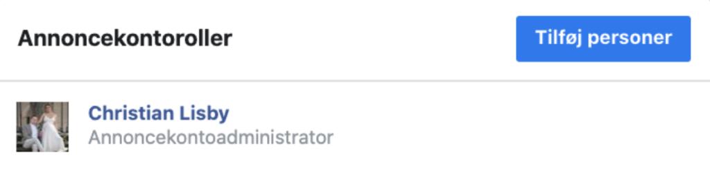 Giv adgang til Facebook Annoncekonto
